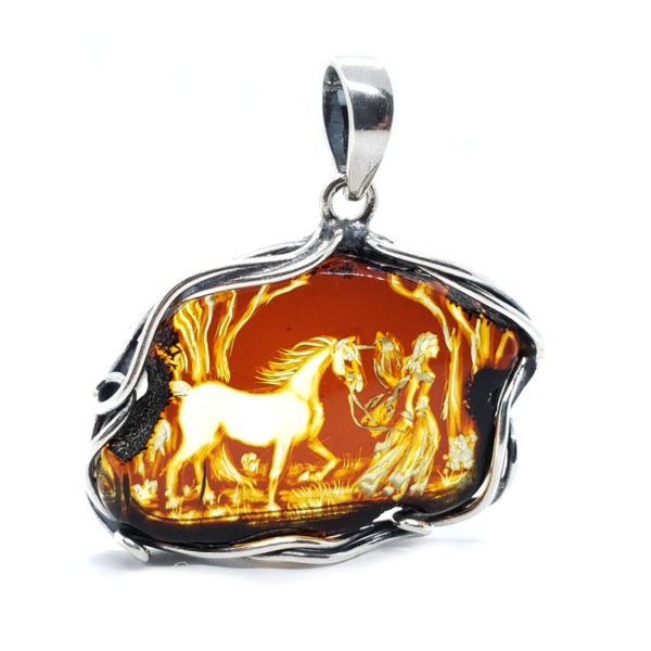 "Hand Carved Amber .925 Silver ""Fairy With A Horse"" Cameo Pendant"