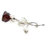 "Cherry Amber Sterling Silver ""Rose"" Pin/Brooch"