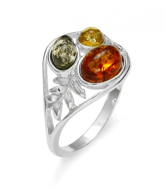 Multi Color Amber Sterling Silver Rings