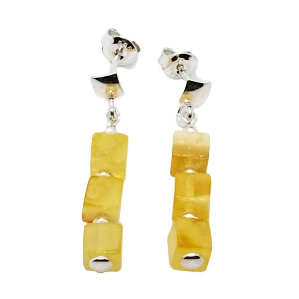 Butterscotch Amber Sterling Silver Post Dangle Earrings
