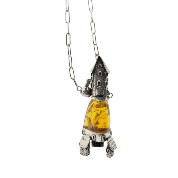 """Cognac Amber Oxidized Silver """"House"""" Necklace"""