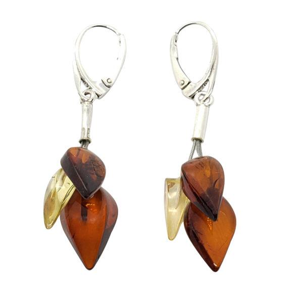 Multi Color Amber Drop Earrings On Silver Hooks