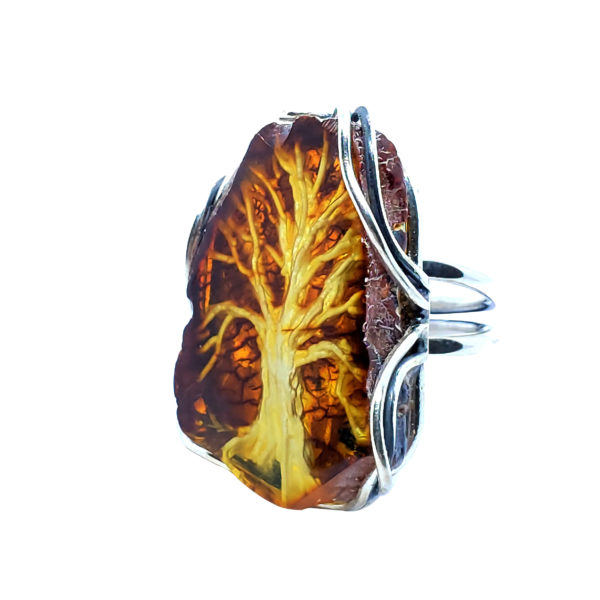 """Hand Carved """"Tree Of Life"""" Amber Cameo Ring"""