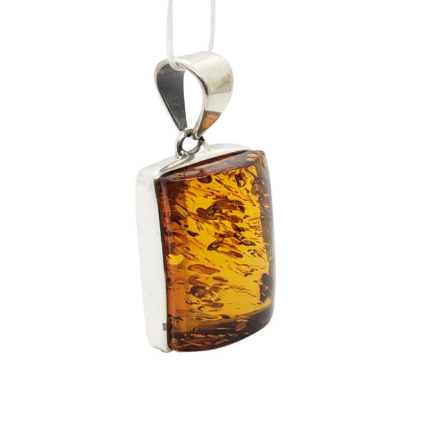 Cognac Amber Sterling Silver Pendant