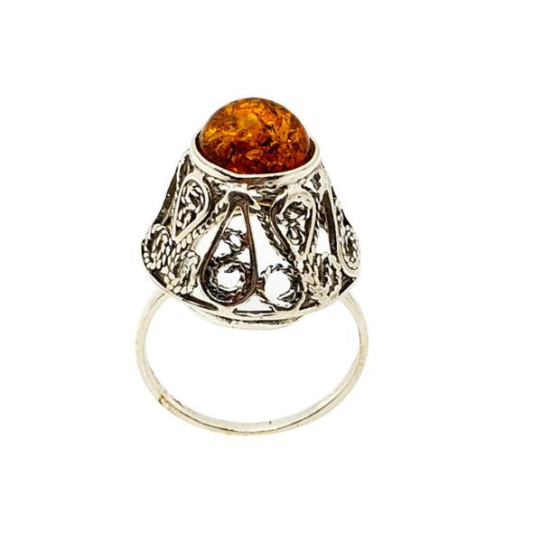 Cognac Amber Filigree Silver Ring