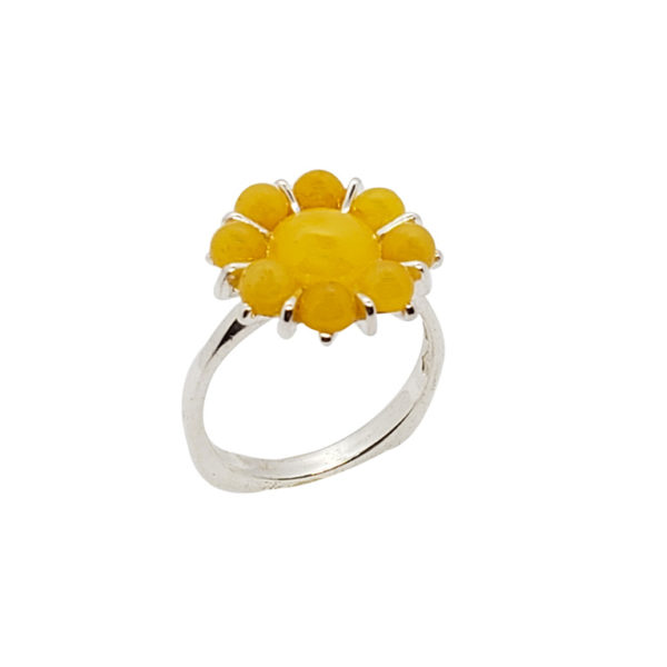 Butterscotch Amber Sterling Silver Flower Ring