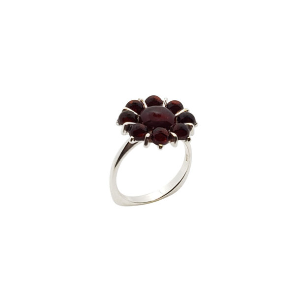 Cherry Amber Sterling Silver Flower Ring
