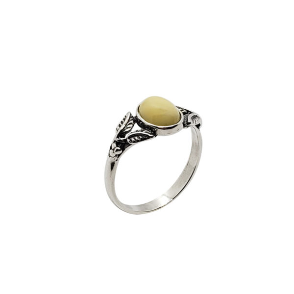Butterscotch Amber Oxidized Silver Leaf Design Ring