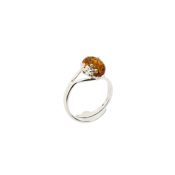 "Cognac Amber Sterling Silver ""Flower"" Adjustable Ring"