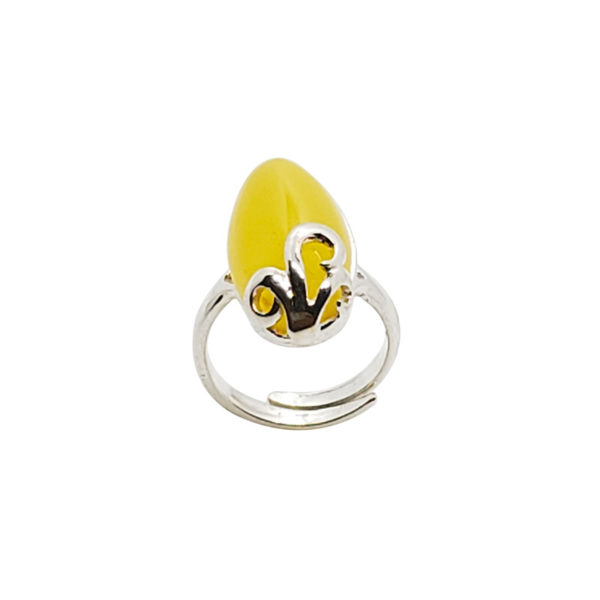 Butterscotch Oval Baltic Amber Ring with .925 sterling silver band. Genuine Baltic amber.