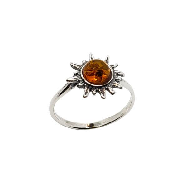 Cognac Amber Sterling Silver Sun Ring