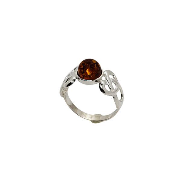 Cognac Amber Sterling Silver Celtic Ring