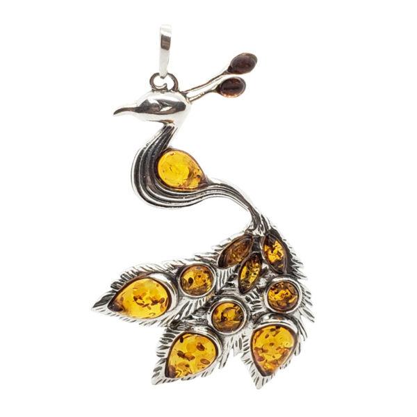 Cognac Amber Sterling Silver Peacock Pendant