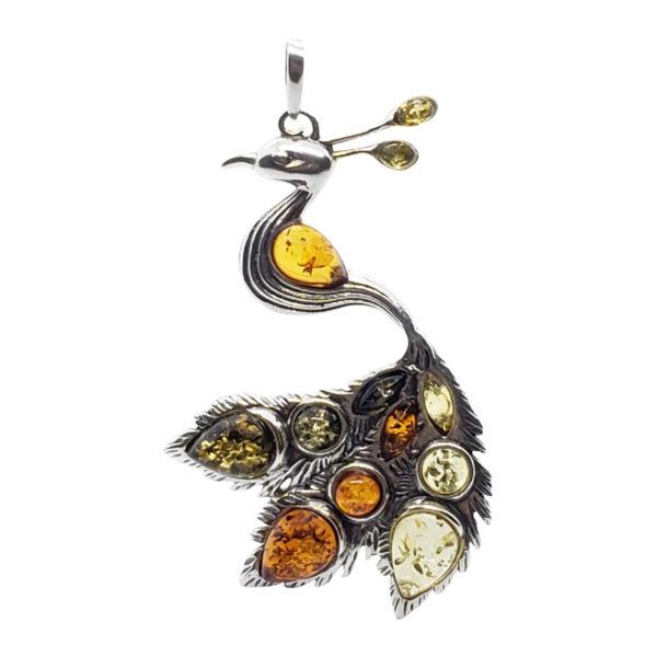 Multi Color Amber Sterling Silver Peacock Pendant