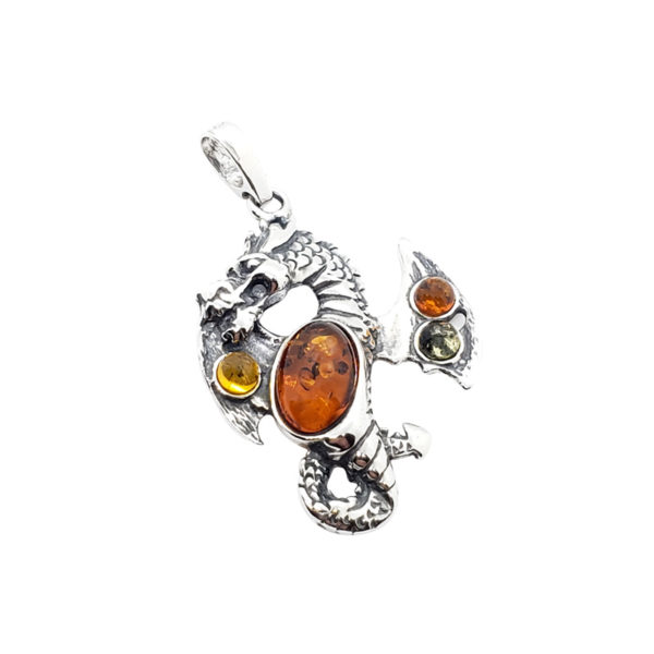 Multi Color Amber Sterling Silver Dragon Pendant