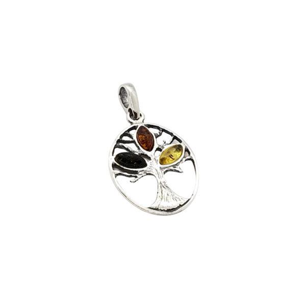 Multi Color Amber .925 Silver Tree Of Life Pendant