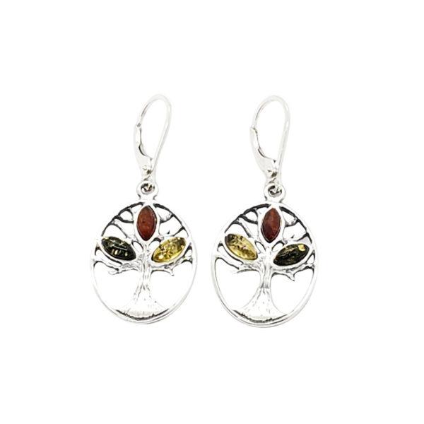 "Multi Color Amber ""Tree Of Life"" Earrings"