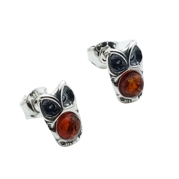 """Cognac Amber """"Owl"""" Stud Earrings"""