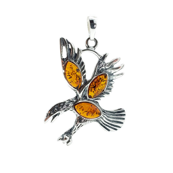 Cognac Amber Sterling Silver Eagle Pendant