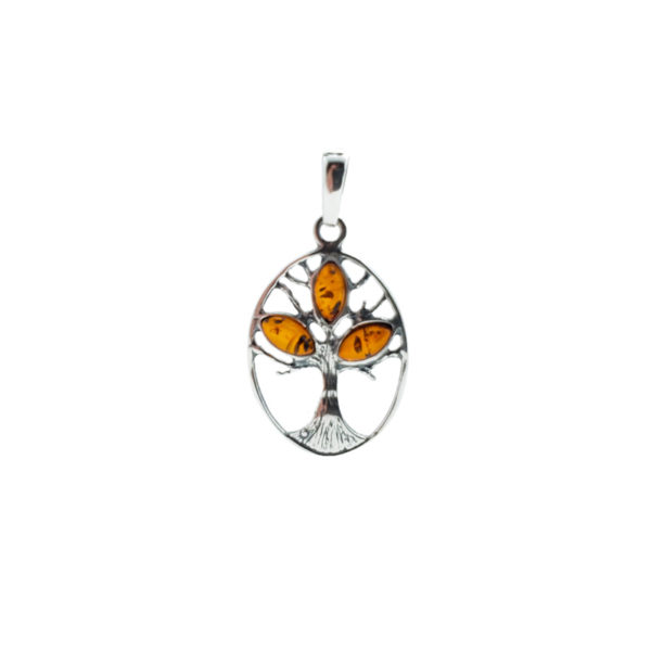 Cognac Amber Sterling Silver Tree Of Life Pendant