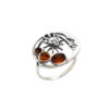 """Cognac Amber Sterling Silver """"Sun And Moon"""" Ring"""