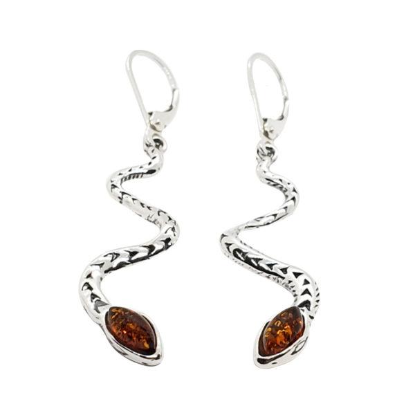 """Cognac Amber """"Snake"""" Earrings On Hooks"""