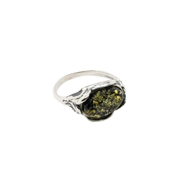 Green Amber Oxidized Silver Ring