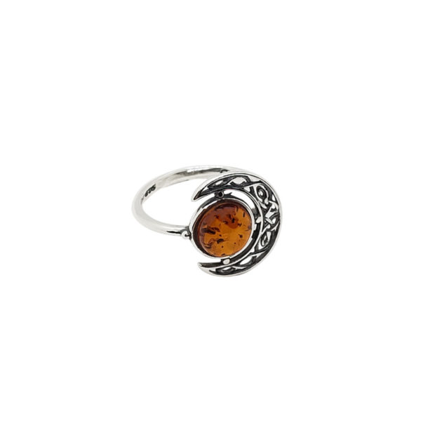 Cognac Amber Sterling Silver Moon Ring
