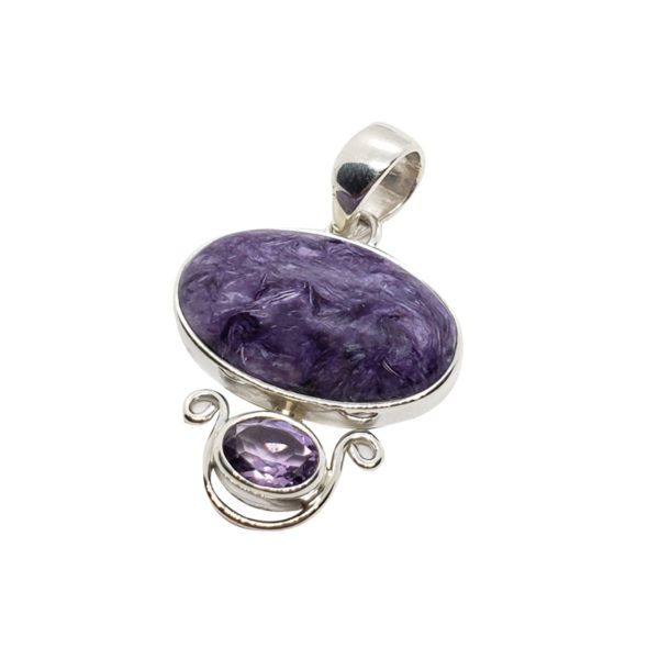 Natural Charoite / Amethyst / Sterling Silver Pendant