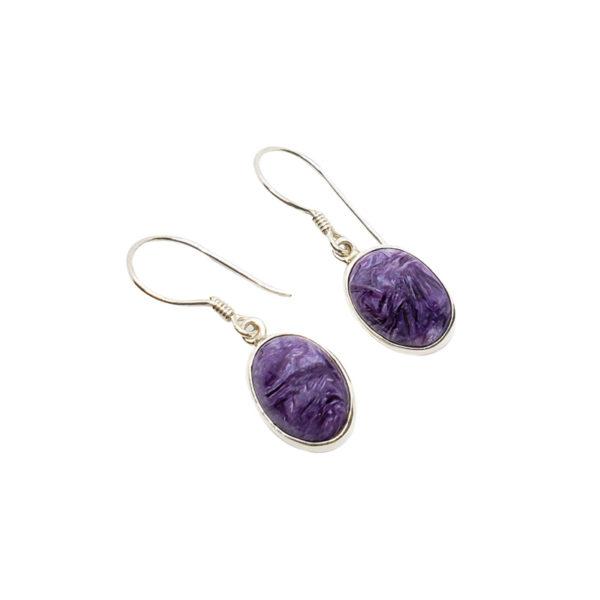 Charoite / Sterling Silver Hook Earrings