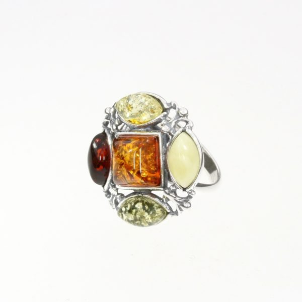 Multi Color Amber Royal Design Ring