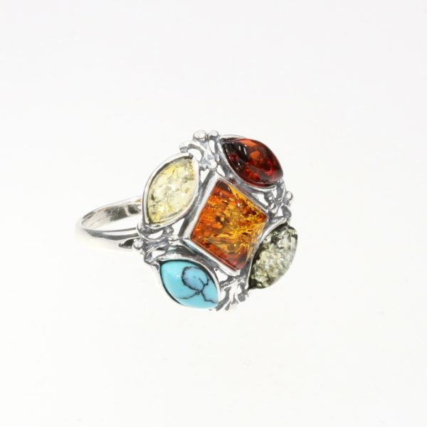 Multi Color Amber / Turquoise Ring