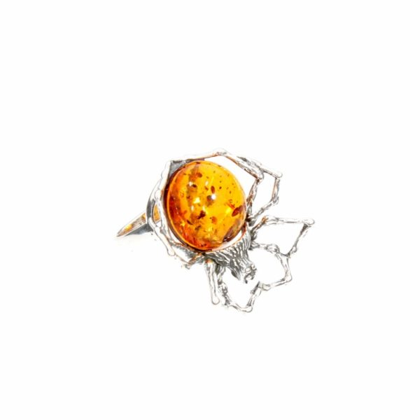 Cognac Amber Sterling Silver Spider Ring