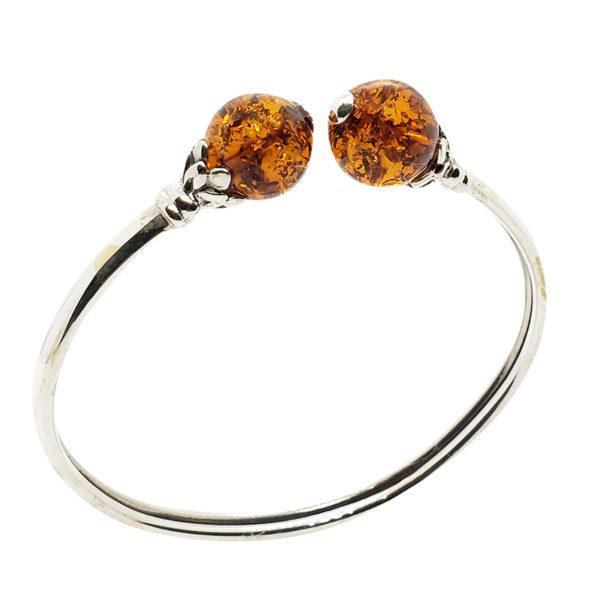 Cognac Amber Sterling Silver Bracelet