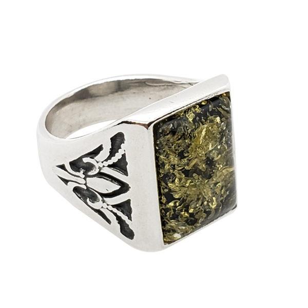 Green Amber / Fleur-de-lis Design Silver Ring For Men