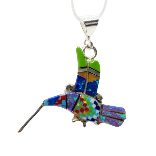 Modern Southwestern Style Mosaic Hummingbird Pendant