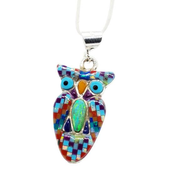 Modern Southwestern Style Mosaic Owl Pendant