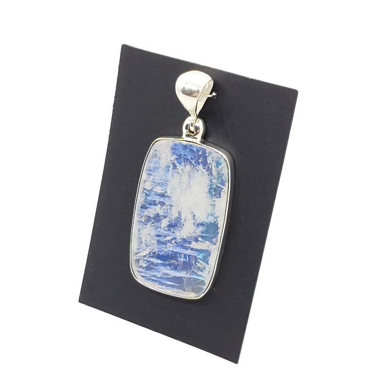 RM-50120 Gemstone Charm Double Bail 16x8mm, Free Form Pendant Rainbow Moonstone  Rough Connector Pendant Silver Electroplated