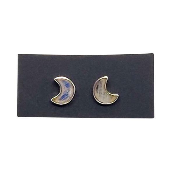 "Moonstone / Silver ""Moon"" Stud Earrings"