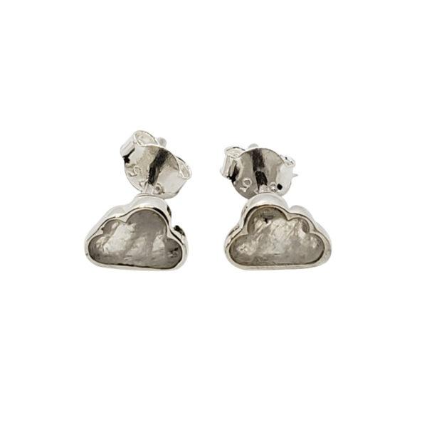 """Moonstone / Silver """"Cloud"""" Stud Earrings"""