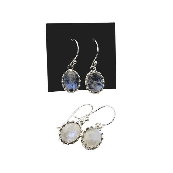Moonstone / Sterling Silver Earrings On Hooks