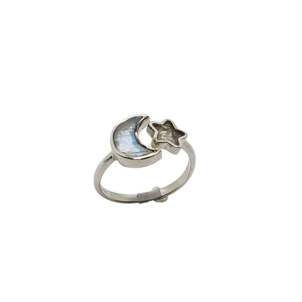 """Moonstone / Silver """"Star And Moon"""" Adjustable Ring"""