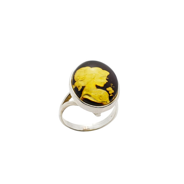 """Carved """"Lady"""" Amber Cameo / Intaglio Adjustable Ring"""
