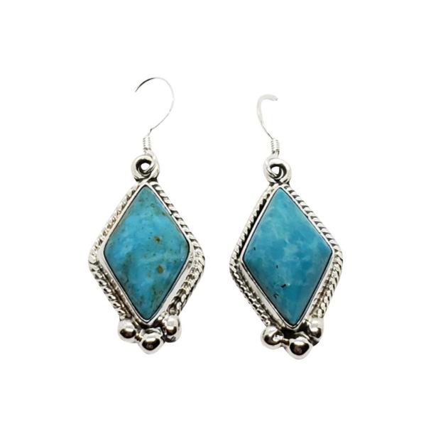 Kingman Turquoise Earrings On Hooks