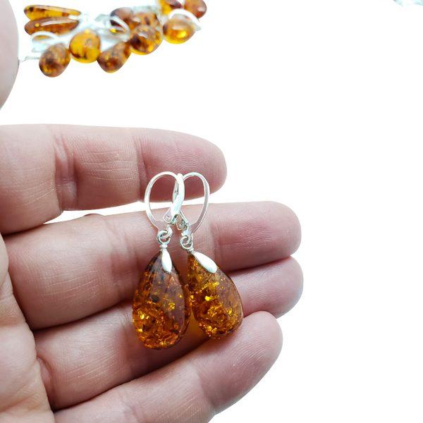 Cognac Amber Drop Earrings On Hooks