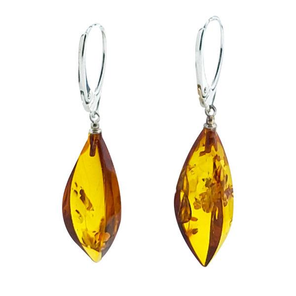 Cognac Amber Dangle Earrings On Hooks