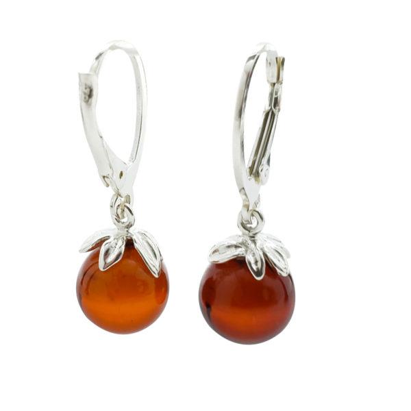 Cherry Amber Sterling Silver Earrings On Hooks