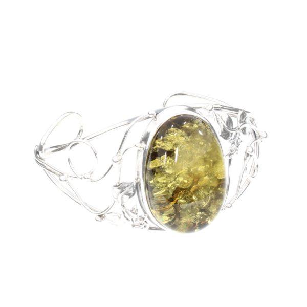 Green Amber Sterling Silver Open Cuff Bracelet