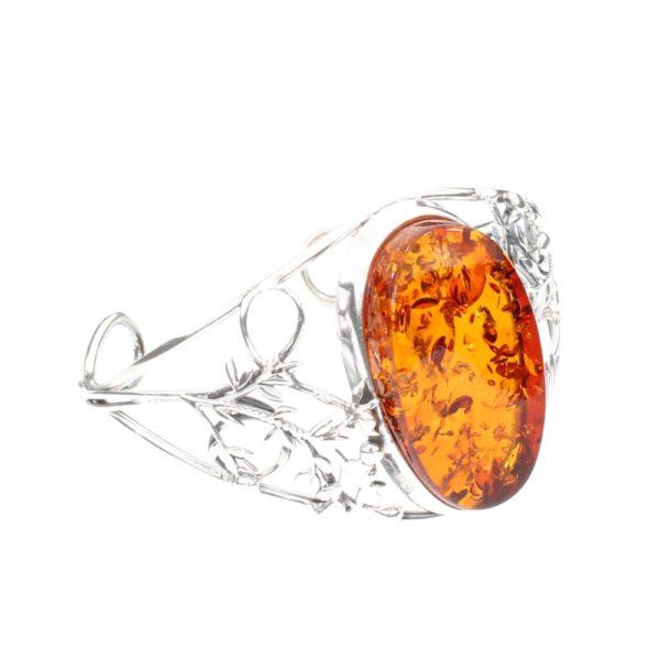 Cognac Amber Sterling Silver Open Cuff Bracelet