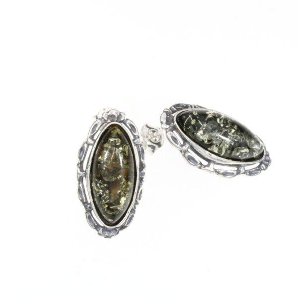Green Amber Oxidized Silver Stud Earrings